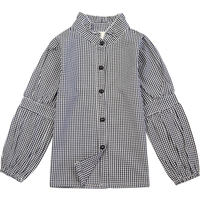DR1901YBXGH7059 Eco friendly Printed Plaid Stand Collar Girls' Shirt фото