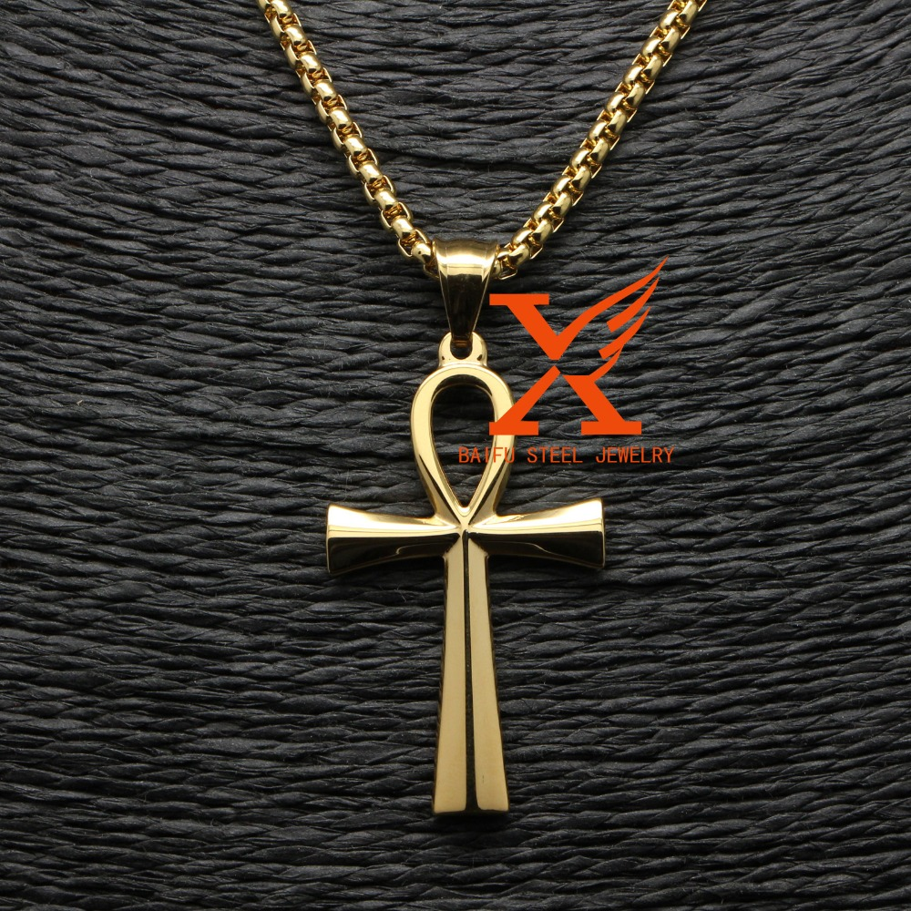 3D New Egyptian Ankh 18K Gold Plated Jewelry Stainless Steel Ankh Pendant Jewellry Religion