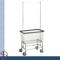 Hotel Chrome Laundry Rack with wire basket
