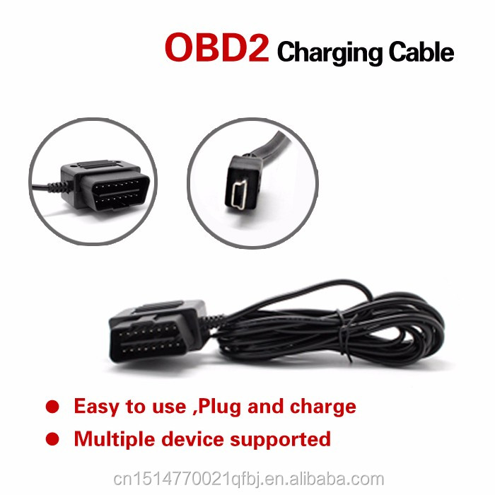 16Pin OBD2 to Micro USB 4 Meter wire 16pin OBDII Car Charging Convert for Andriod Phone, DVR Digital Video Camera GPS