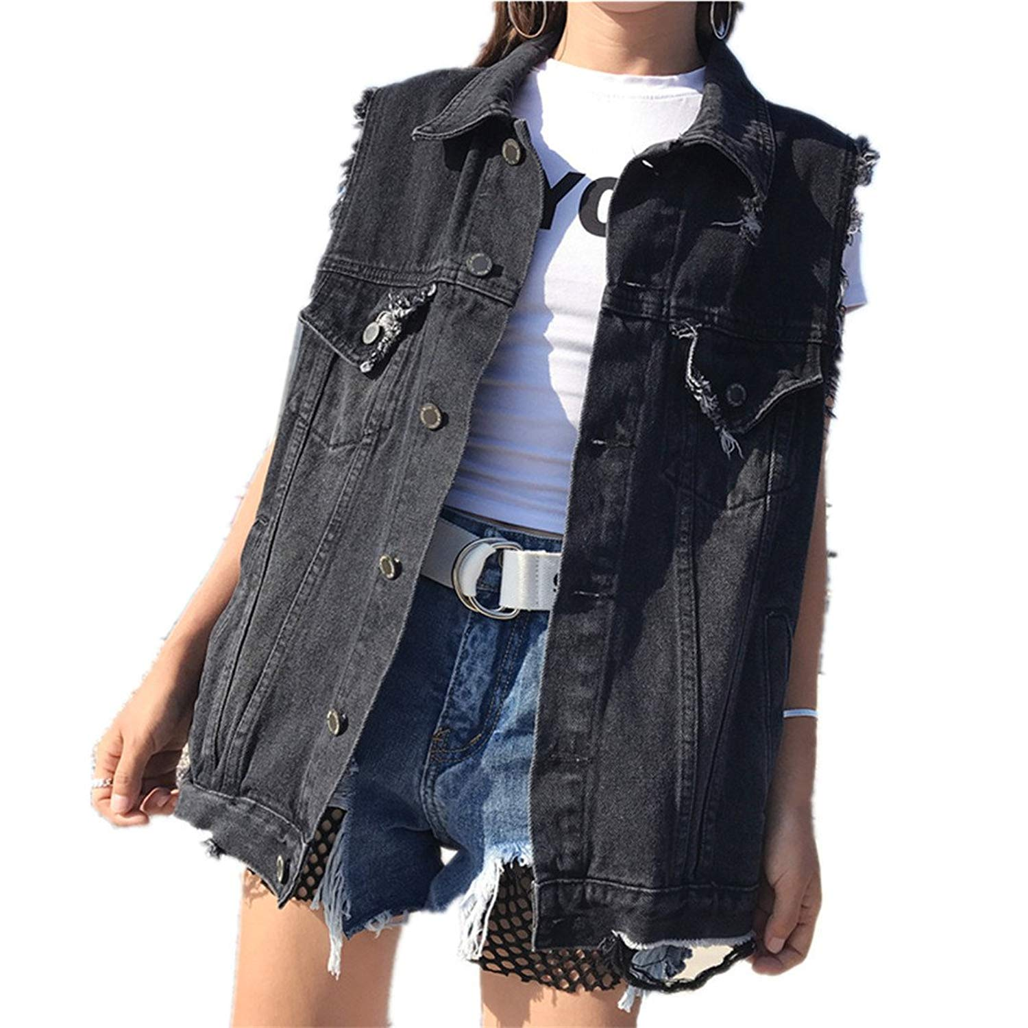 33740743ff3 Get Quotations · veste Fashionable Black Denim Vest Women s Sleeveless Jeans  Jacket Casual Women s Vest Sleeveless Denim Jacket