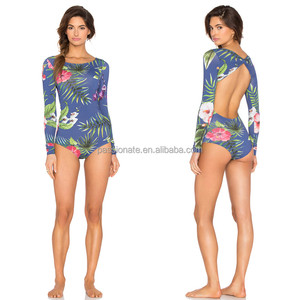 custom sexy backless swimwear long sleeve one piece swimsuit women