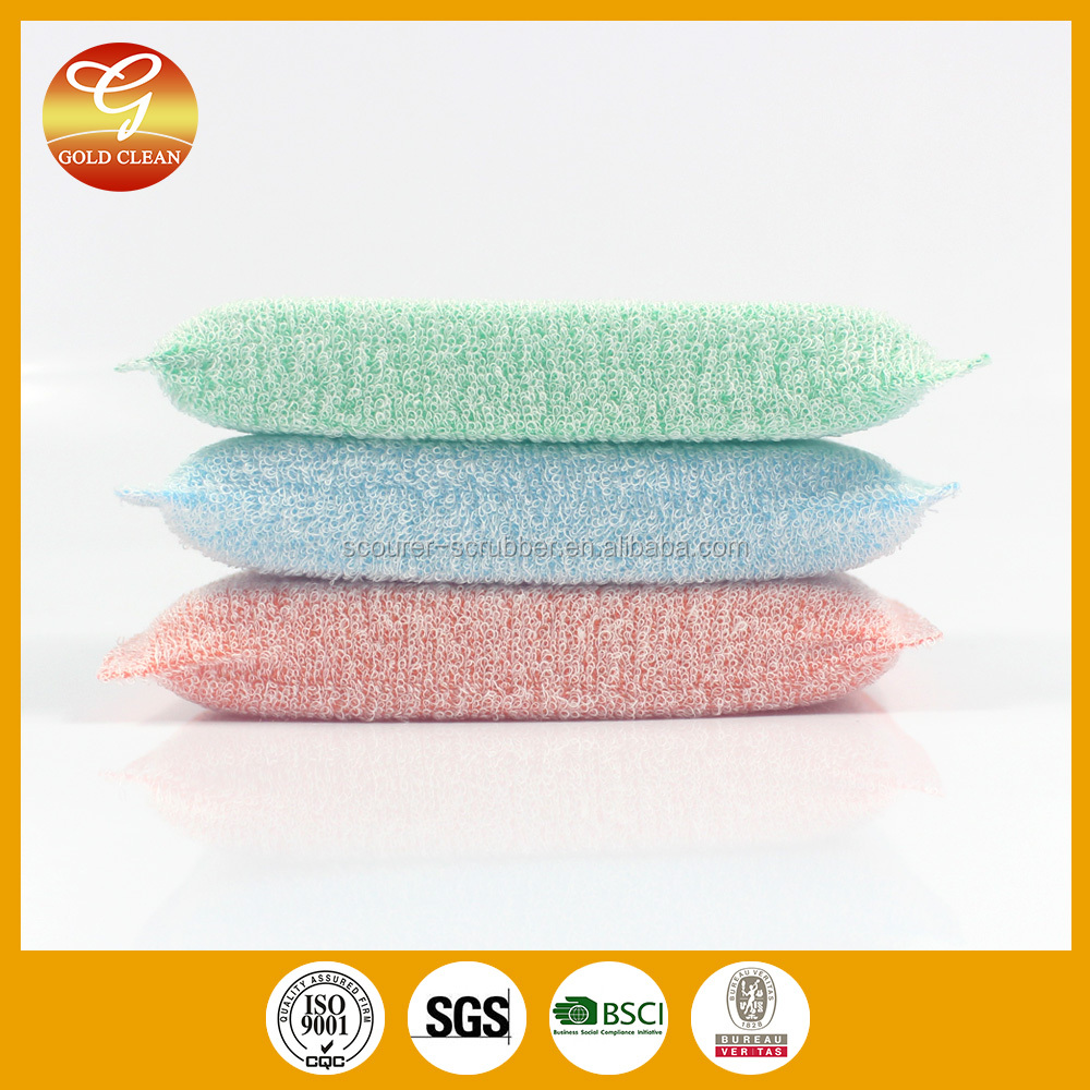 Microfibre Cloth Kitchen Cleaning Dish Washing Scouring Pad With Sponge