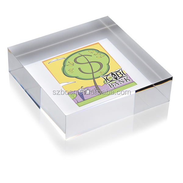 High Transparent Square Acrylic Paperweight