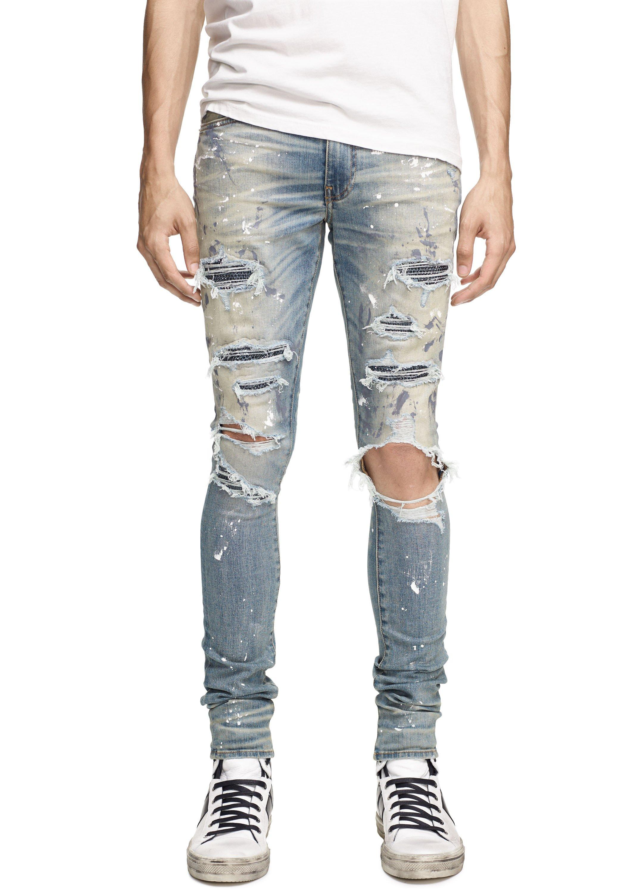 DiZNEW Classic Indigo Crystal Paint distressed jeans For Men