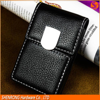 Vertical Black PU leather credit card holder with magnetic button closure and embossing LOGO