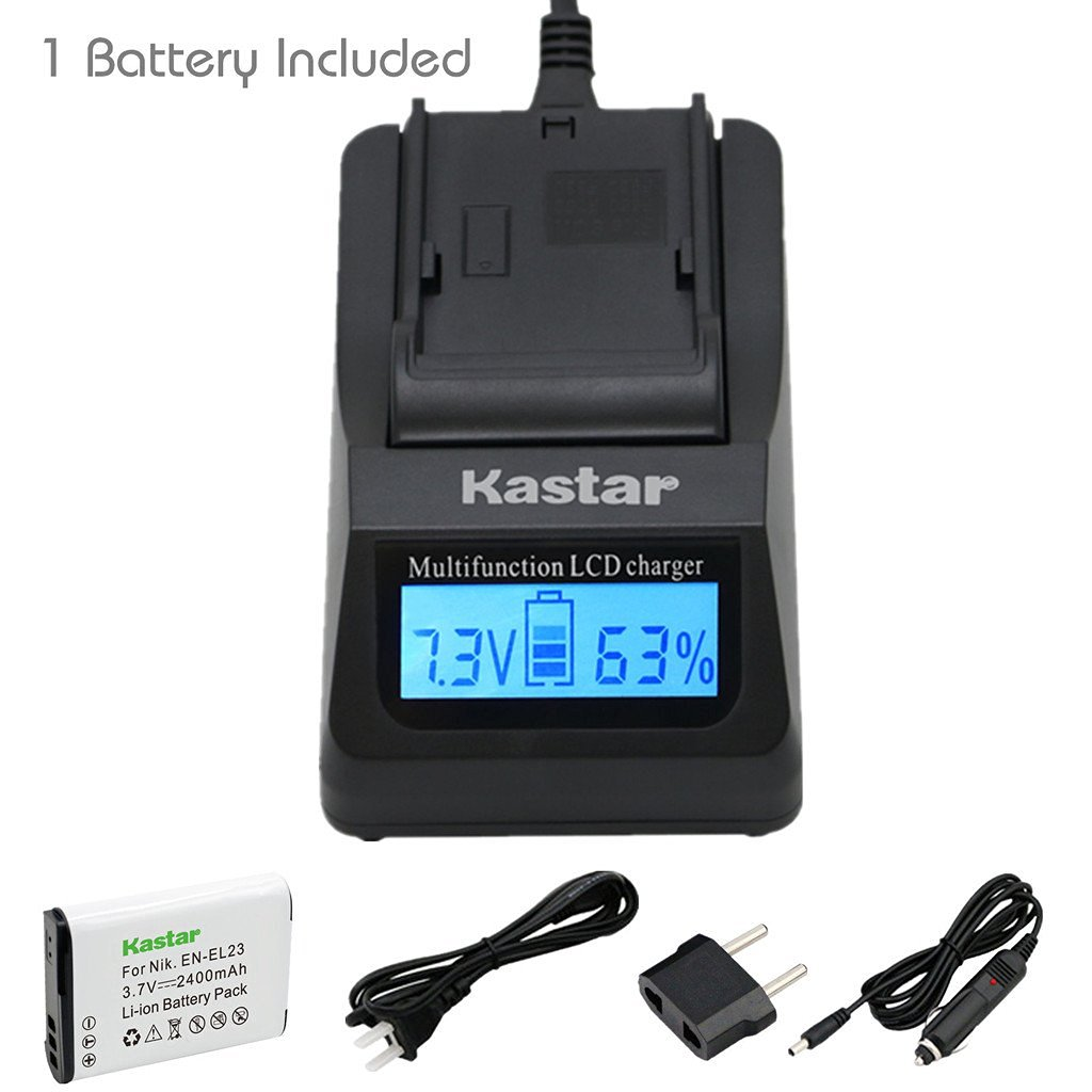 Kastar Ultra Fast Charger(3X faster) Kit and Battery (1-Pack) for Nikon EN-EL23, MH-67 work with Nikon Coolpix P600, S810c Digital Cameras [Over 3x faster than a normal charger with portable USB charge function]