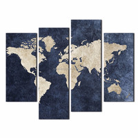 LK4101 4 Panle Blue Map Flag Painting A World Map With Mazarine Background Picture Print On Canvas By For Home Modern Decoration