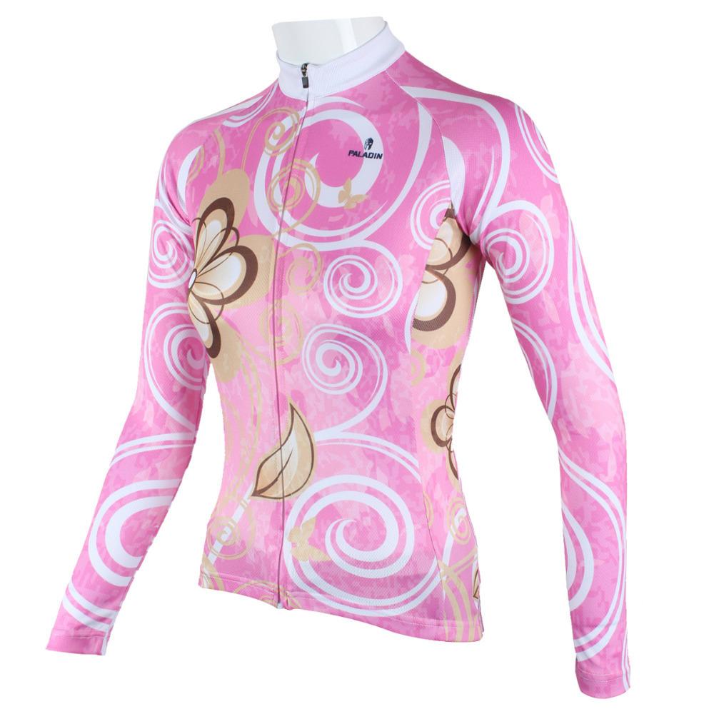 New Women cycling jersey Rider Bike Clothing Pink Long Sleeve Paladinsport  rope ddfb44779