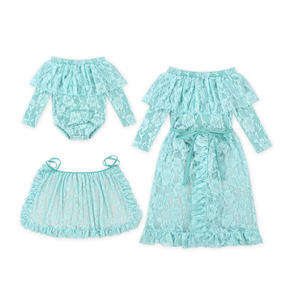 long sleeve Lace off shoulder romper top match skirt for baby girl clothing