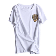 Casual Solid T-Shirt Female Spring Summer 2017 Short Sleeve Black White Gold Shield Sequin Beading Brief Fashion T-Shirt