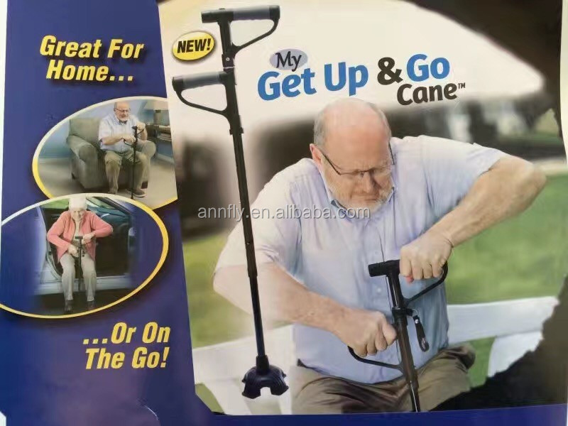 Old people Medical get up and go cane with double grab handle walking stick