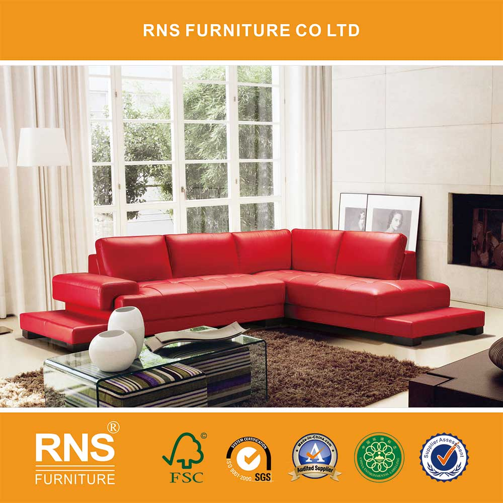 RNS Red color sectional L shape leather sofa for home 6055A