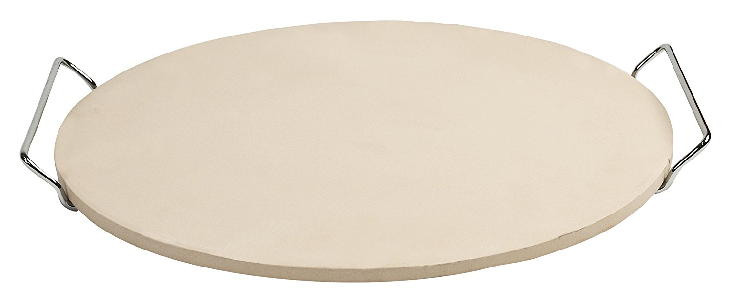 """Pizzacraft PC0010 Round Stone with Wire Frame & Recipe Book Set, 15"""""""