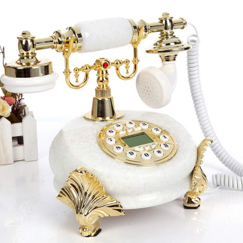 PCF Environmental Protection Topaz White Jade Retro Luxury European Pastoral Home Landline American Fixed Home Office Hotel Cafe Antique Fixed Telephone (Color : White)