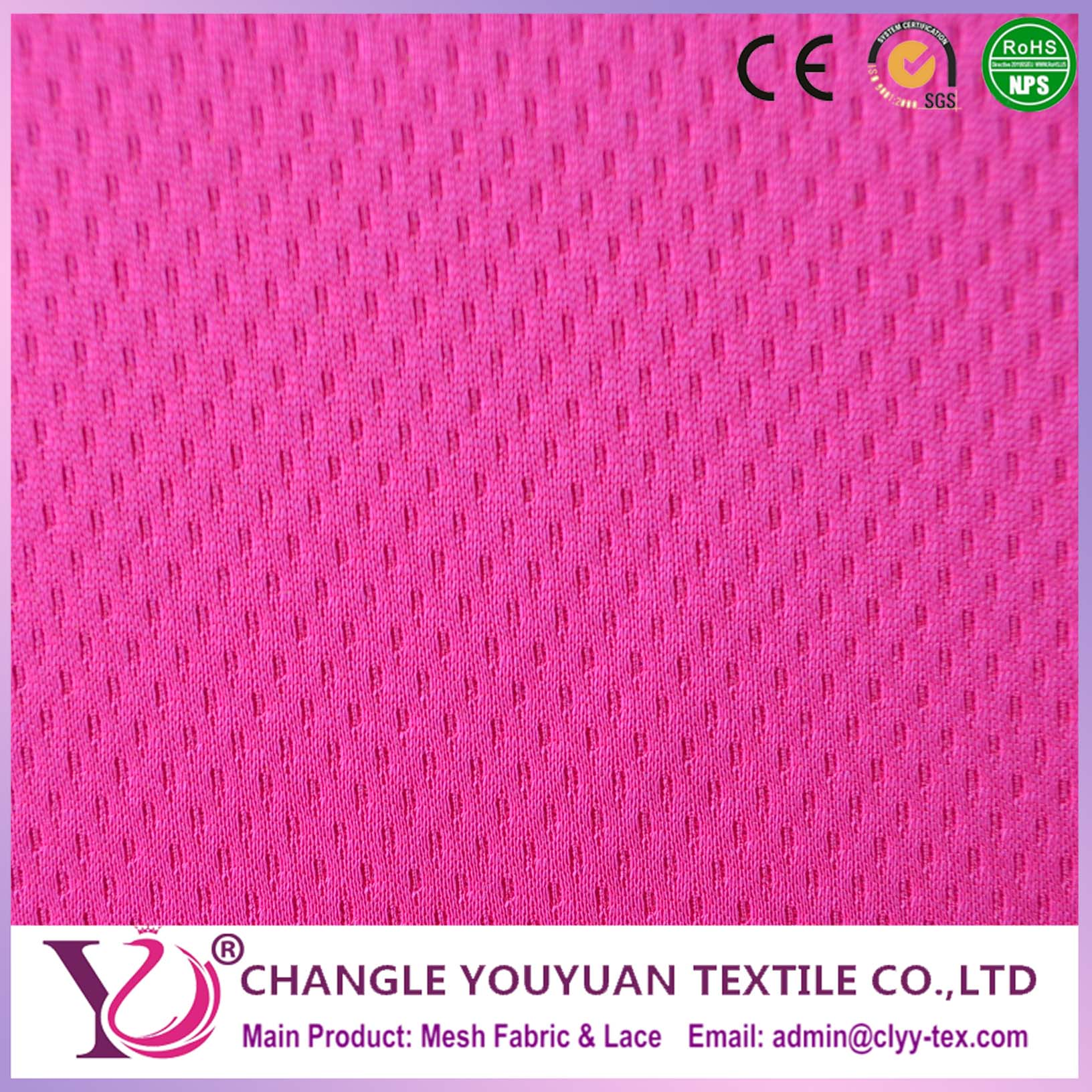 Sportswear Fabric Dri Fit Eyelet 100 Polyester Single Jersey Knit Fabric