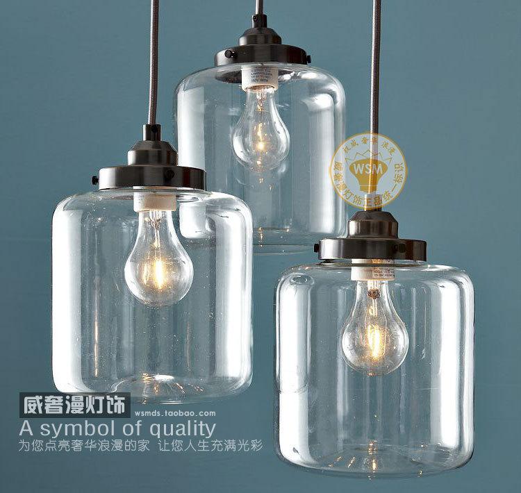 1 vintage retro clear glass bottle pendant light mason jar hanging lamp shade kitchen dining. Black Bedroom Furniture Sets. Home Design Ideas