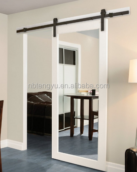 White Mirrored Barn Door For Hotel With Sliding Hardware