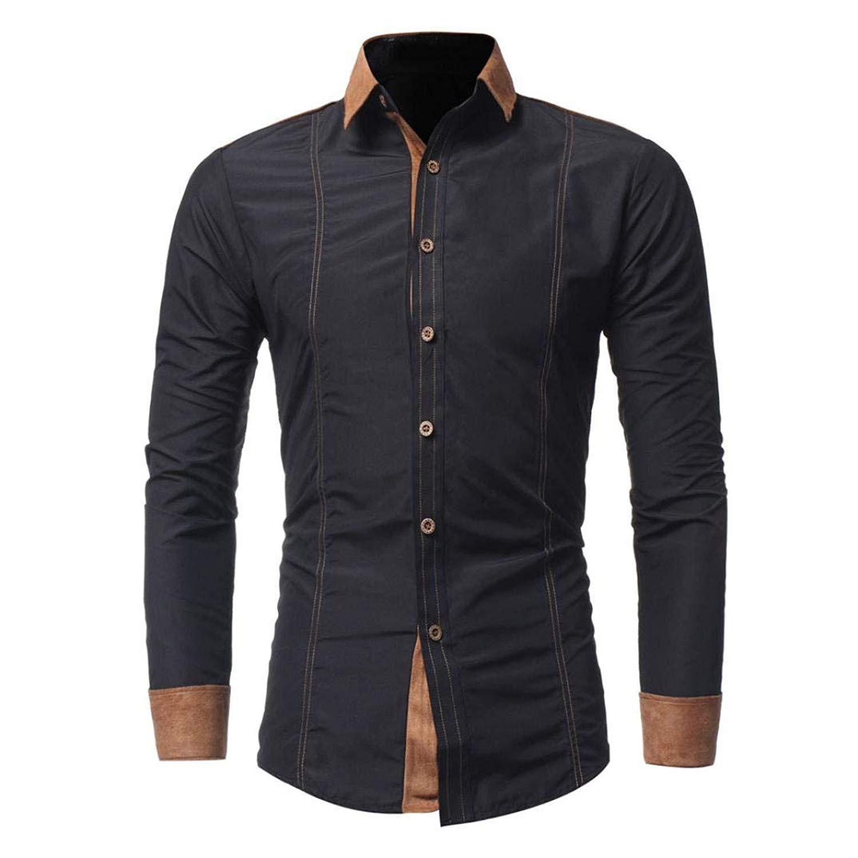 PHOTNO Mens Shirts,Men Slim Fit Long Sleeve Shirts Blouse Tops Button Down Dress Shirts M-4XL