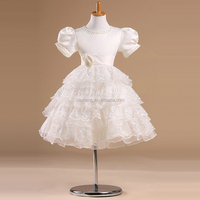 short sleeve ball gown ruffle beaded children wedding dress
