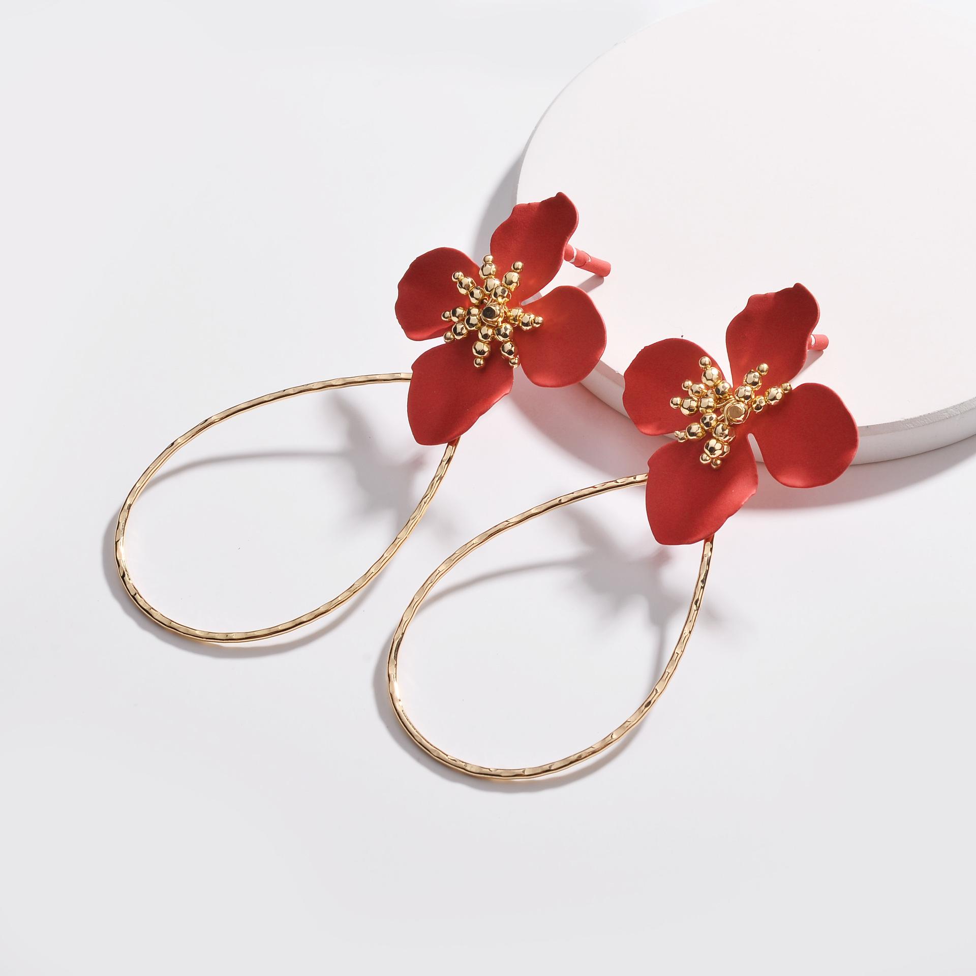 2019 New Hot Sale Newest Design 10CM Long Style Red Flower Dangle Earrings Luxury Copper Water Drop Circle Big Flower Earrings фото
