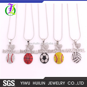 IMG 7329 Yiwu Huilin Jewelry Love ball games necklace series Custom Team Logo Soccer Volleyball Basketball Sport Jewelry