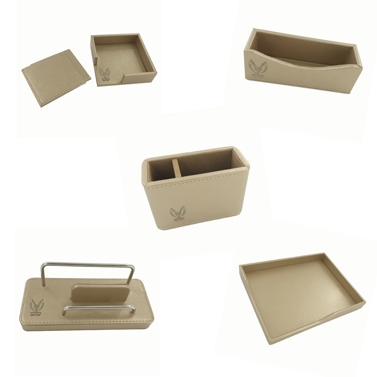 China Supply Top Handgemaakte Kantoor Lederen Desktop Set Voor Vip Geschenken