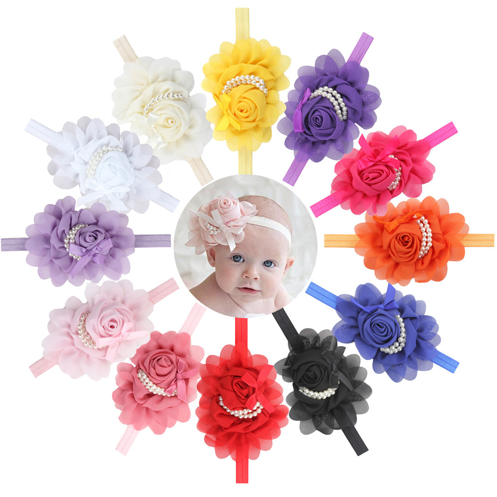Pearl Decoration Plastic Baby Flower Headband for Girls