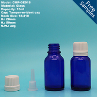 15 ml empty blue glass essential oil bottle with white rubber dropper cap