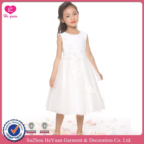 H16103 Flower Girl Dress Perals Round Neck, 3D Carmellia Hand Sew Beads Satin Lace 2016