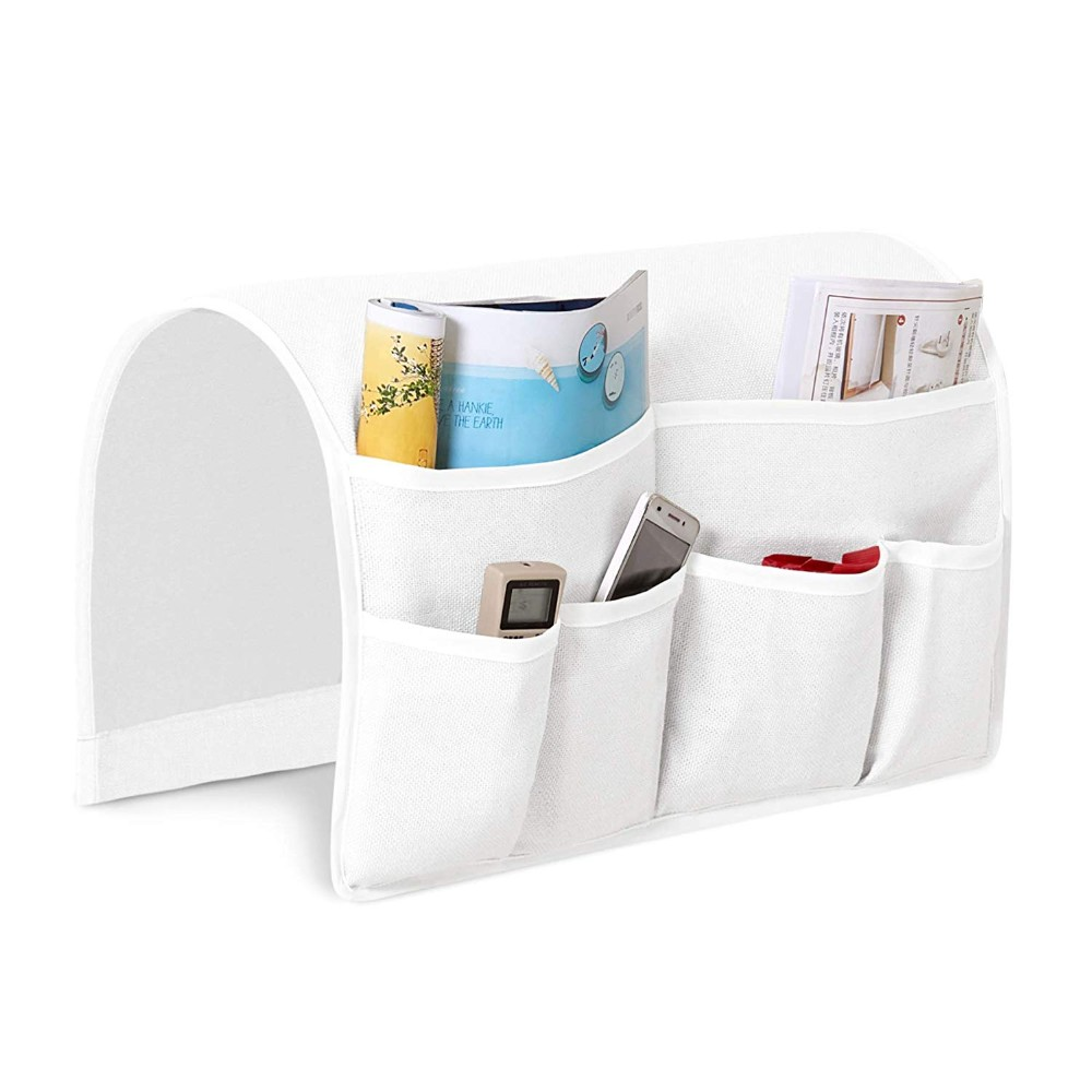 4 Pockets Remote Holder Table Arm Rest Organizer Bag Sofa Couch Storage Durable