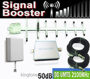 3G WCDMA 2100MHz Mobile Cell Phone Signal Booster Amplifier 50dB Outdoor  Yagi+Indoor Panel Antenna+50ft Cable KT-3G50