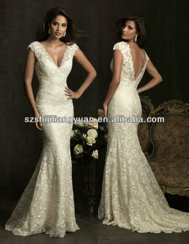 SJ1281 ivory new arrive lace short sleeve v-neck Halter wedding dress