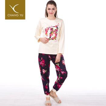 acf411108c Hot Sell Design Ladies Cotton Spandex Pyjamas