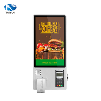 Touch screen self payment ordering kiosk 24 inch wall mounted kiosk with thermal printer