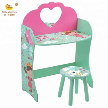 Kids Wooden Dressing Table And Stool Set