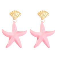 Elegant Candy Color Starfish Earrings Statement Alloy Ocean Sea Shell Drop Earrings for Women (SK441)