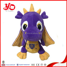 Wholesale custom stuffed dragon toy plush purple dragon toy