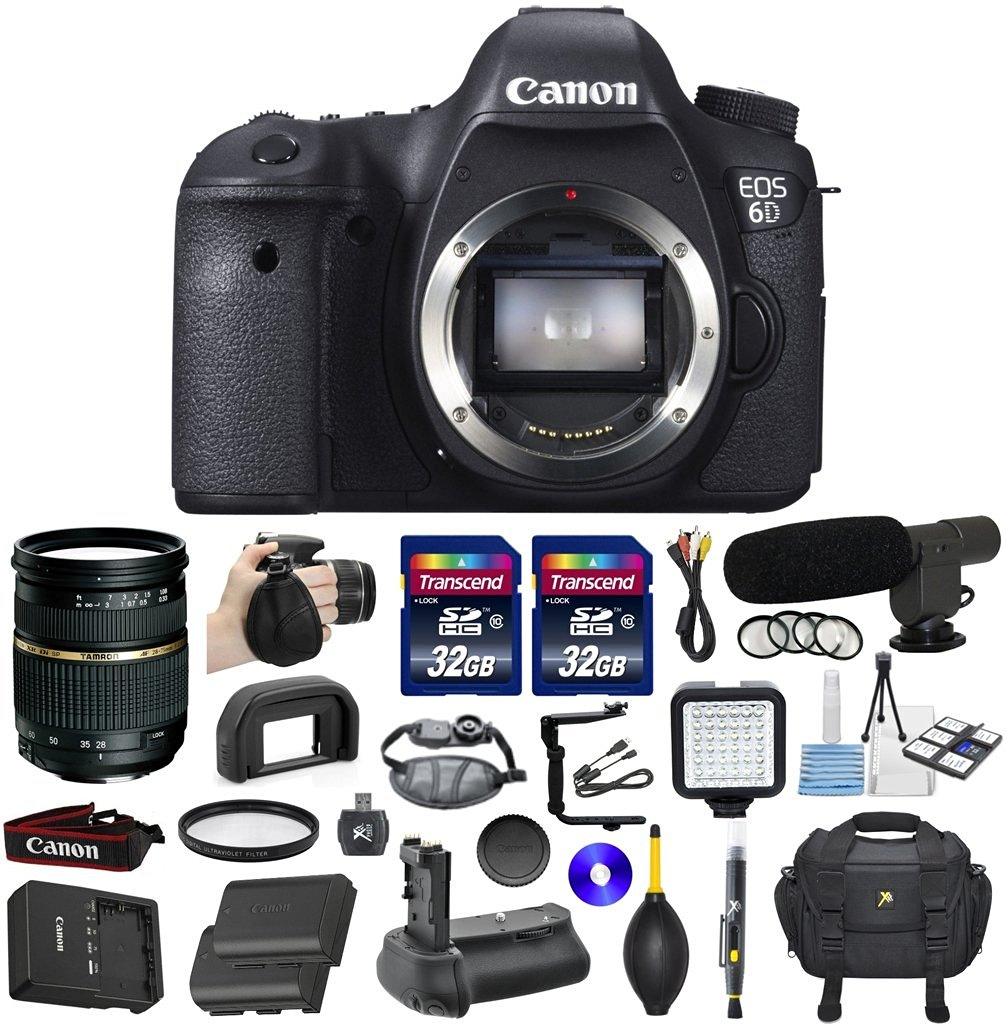 Canon EOS 6D 20.2 MP Full Frame CMOS Digital SLR DSLR Camera Bundle with Tamron AF 28-75mm f/2.8 Autofocus Lens & 2 Pieces Transcend 32GB High Speed SDHC Memory Cards + Video Accessory Kit (20 Items)