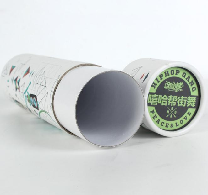 100% recycled clothing paper tube packaging, customized printed cardboard tube gift wrap