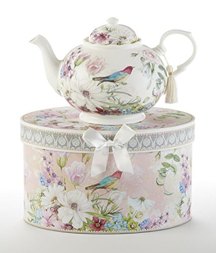 Teapot New Delton Daisy Bird Pastel Flowers Porcelain, Gift Boxed in Hat Box Mother's day, Birthday Gift