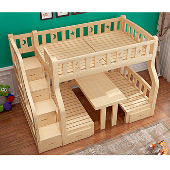 Reliable And Good Wooden Furniture Children Bunk Bed With Table