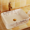 Rectangular shape counter top ceramic basin for balcony and bathroom