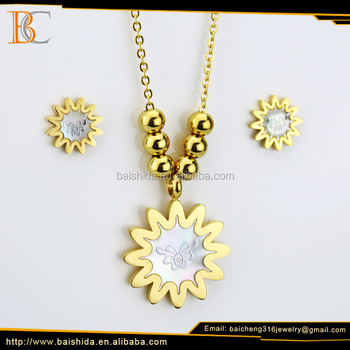 Hot selling 18k italian gold plated jewelry set accessories for women necklace earring for women