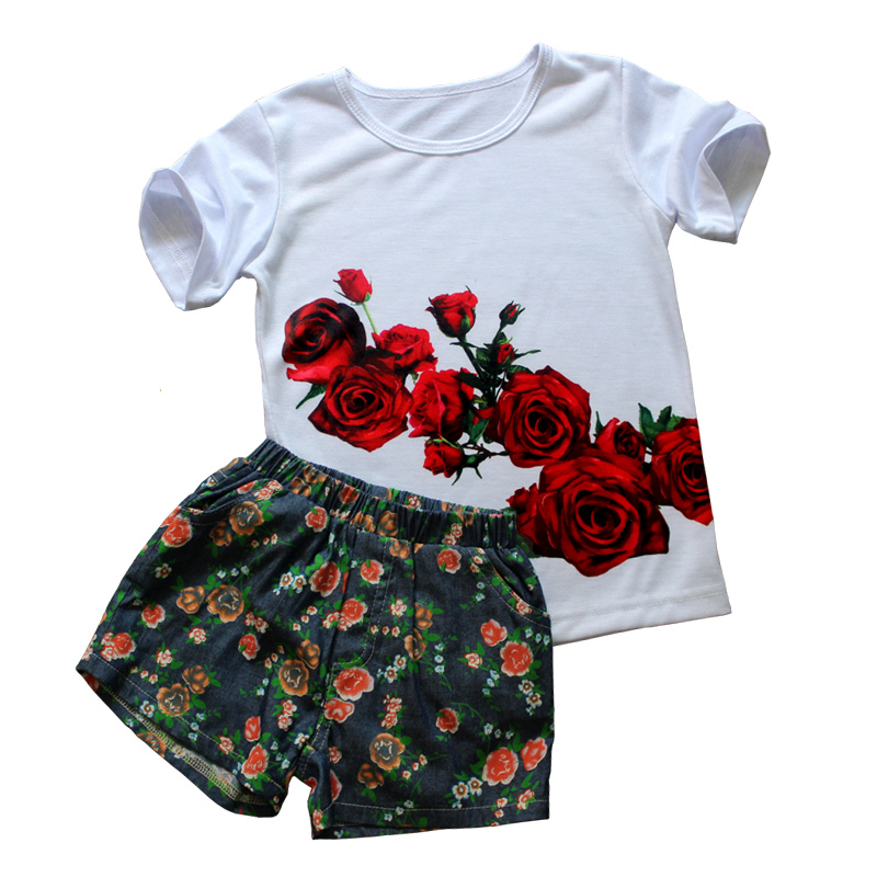 Novelty kids clothes 2pieces clothing set 2016 summer baby girl clothes casual sport children clothing 3D print t-shirt + shorts