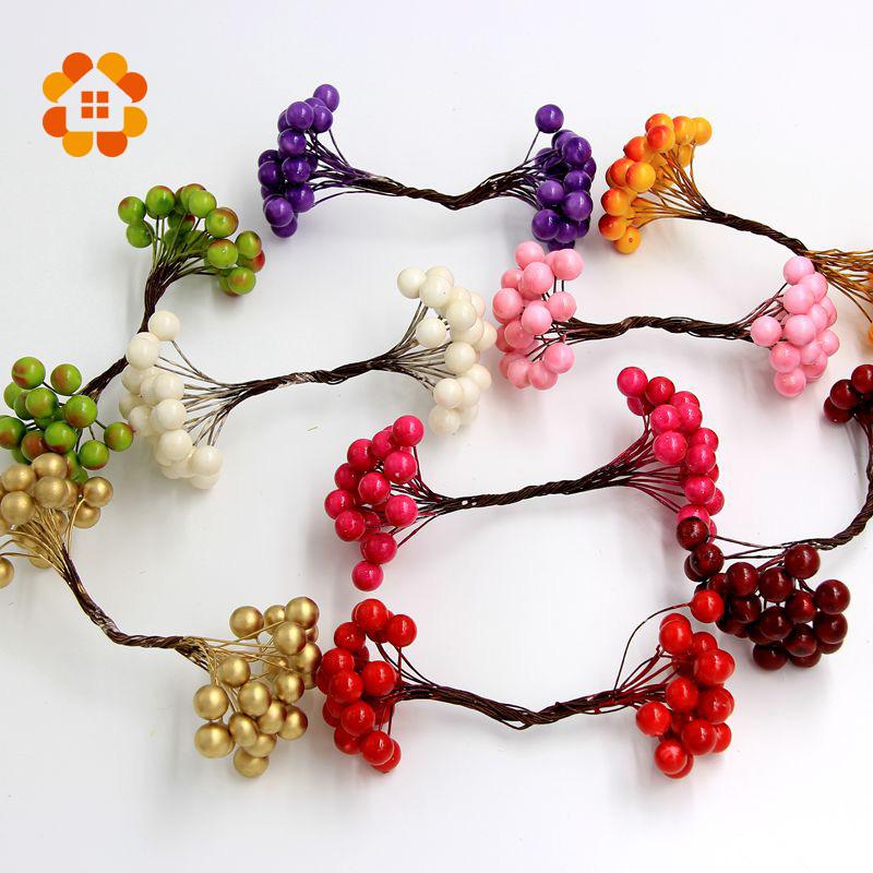 2015 1cm 20pcs lot Mini artificial Berries Bouquet flower Stamen for home Garden wedding Car corsage