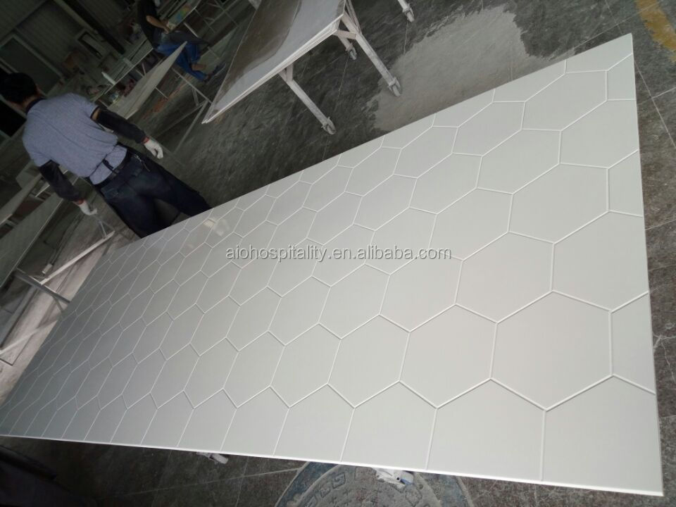 Hexagonal Pattern Gloss White Cultured Marble Shower Surround for US Hotel