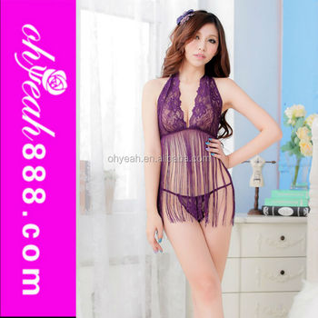 Low back fringed halter babydoll lingeries hot sale women sexy purple  nighties 8318a9574