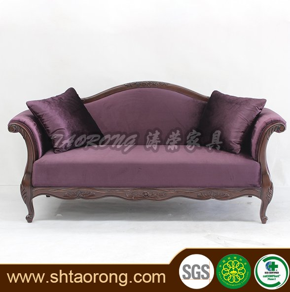 Antique wood purple fabric sectional sofa for hotel