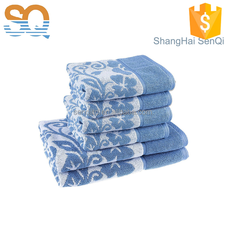 100 % cotton Jacquard Yarn Dyed Colorful Light Blue Floral Design Towel